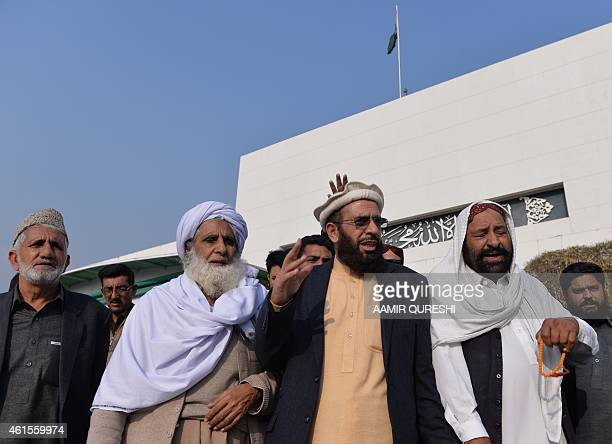 Pakistani Federal Minister for Religious Affairs from the Pakistan Muslim League Nawaz Sardar Yousuf and lawmakers and employees chant slogans...