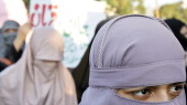 Pakistani female activists of the fundamentalist Islamic alliance the Muttahida MajliseAmal march during an antigovernment protest rally in Islamabad...
