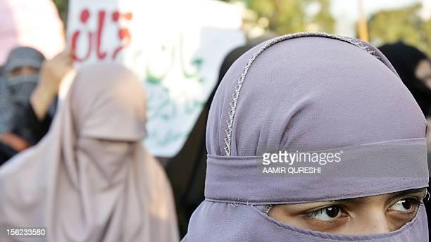 Pakistani female activists of the fundamentalist Islamic alliance the Muttahida MajliseAmal march during an antigovernment protest rally in Islamabad...