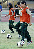 Pakistani female footballers practice before starting a match as part of Fair Play Day in Islamabad 18 September 2004 Pakistan staged its first ever...