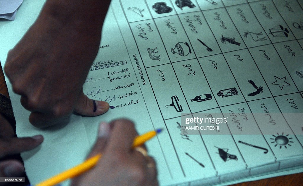 A Pakistani female voter presses her inked thumb onto a ballot paper before she casts her vote at a polling station in Islamabad on May 11, 2013. Pakistani voters went to the polls on May 11, braving Taliban threats to cast their ballots in an election marking a historic democratic transition for the nuclear-armed state. Queues began to form before polling stations opened at 8:00 am (0300 GMT). More than 100 people including women and the elderly waited patiently to vote at one school building on the outskirts of Islamabad.