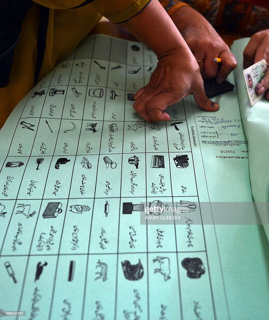 A Pakistani female voter presses her inked thumb onto a ballot paper before she casts her vote at a polling station in Islamabad on May 11, 2013. Pakistanis queued up to vote in landmark elections, defying Taliban attacks to cast their ballots in polls marking a historic democratic transition for the nuclear-armed state.