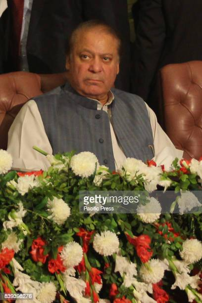 Pakistani former Prime Minister Mian Mohammad Nawaz Sharif addressing during the All Pakistan Lawyers Convention at AwaneIqbal in Lahore