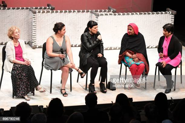 Pakistani human rights activist Mukhtar Mai participates in a discussion with the allwomen creative team of the opera 'Thumbprint' consisting of...
