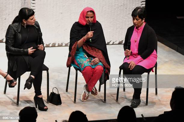 Pakistani human rights activist Mukhtar Mai participates in a discussion with producer Beth Morrison and a translator following a performance of the...