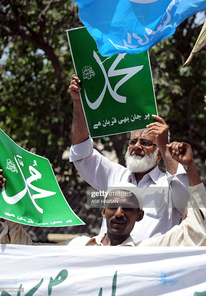 Pakistani Islamists hold up placards during a protest in Karachi on May 21, 2010, against the published caricatures of Prophet Mohammed on Facebook. Thousands of Pakistanis were expected to take to the streets to vent growing anger against Facebook and the West over 'sacrilegious' caricatures of the Prophet Mohammed on the Internet. A Facebook user organised an 'Everyone Draw Mohammed Day' competition to promote 'freedom of expression', inspired by an American woman cartoonist, but sparked a major backlash in the conservative Muslim country of 170 million.