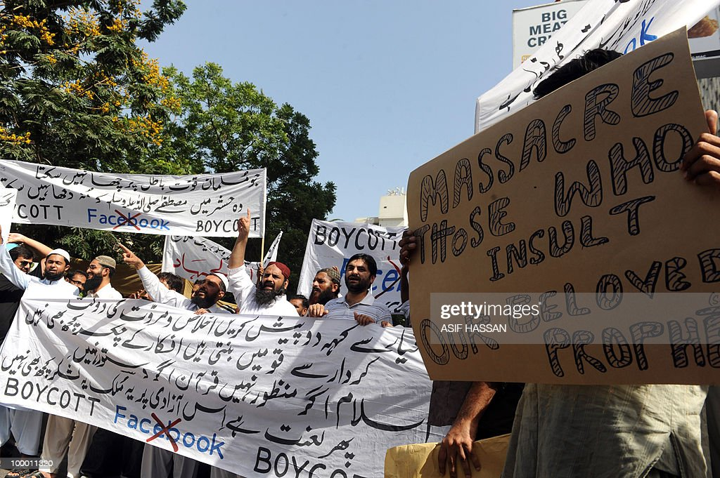 Pakistani Islamists shout slogans during a protest in Karachi on May 20, 2010, against the published caricatures of Prophet Mohammed on Facebook. Pakistan 'strongly condemned' caricatures of the Prophet Mohammed that appeared on social networking website Facebook as insulting to Muslims worldwide. The Pakistan Telecommunications Authority (PTA) blocked access to Facebook and YouTube in a growing row sparked when a private Facebook user asked people to send in drawings of the Prophet Mohammed.