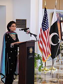 Pakistani lawmaker Farahnaz Ispahani praises the work of Shahbaz Bhatti the slain minister for minorities at a memorial service at Pakistan's embassy...