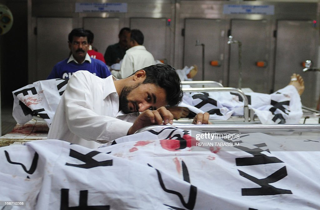 A Pakistani man peers under a cloth covering the dead body of a policeman at a hospital morgue following an attack by gunmen in Karachi on December 25, 2012. Gunmen opened fire on a car carrying a senior figure from an extremist Muslim Sunni group in the Pakistani city of Karachi, killing four policemen and two other people, police said. AFP PHOTO/RIZWAN TABASSUM