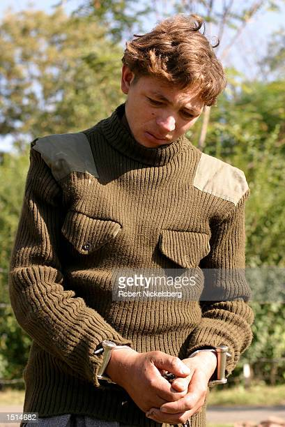 Pakistani militant Sher Khan a member of Al Badr is shown at the Indian army base camp September 21 2002 in Srinagar India Khan and 12 Pakistani...