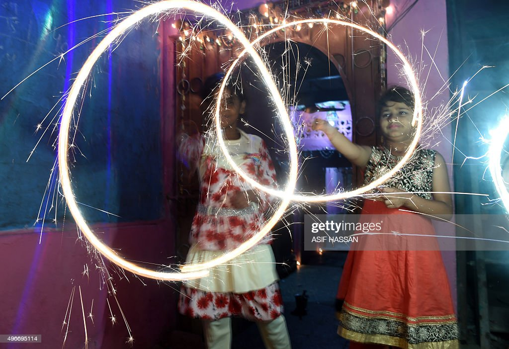 Pakistani minority Hindus celebrate Diwali with fireworks in Karachi on November 11 2015 Diwali the festival of lights is celebrated with jubilation...