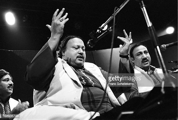 Pakistani musician Nusrat Fateh Ali Khan performs live on stage at the Melkweg in Amsterdam Netherlands on 28th February 1988