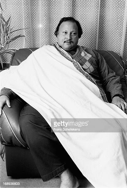 Pakistani musician Nusrat Fateh Ali Khan posed in Amsterdam Netherlands on 29th February 1988