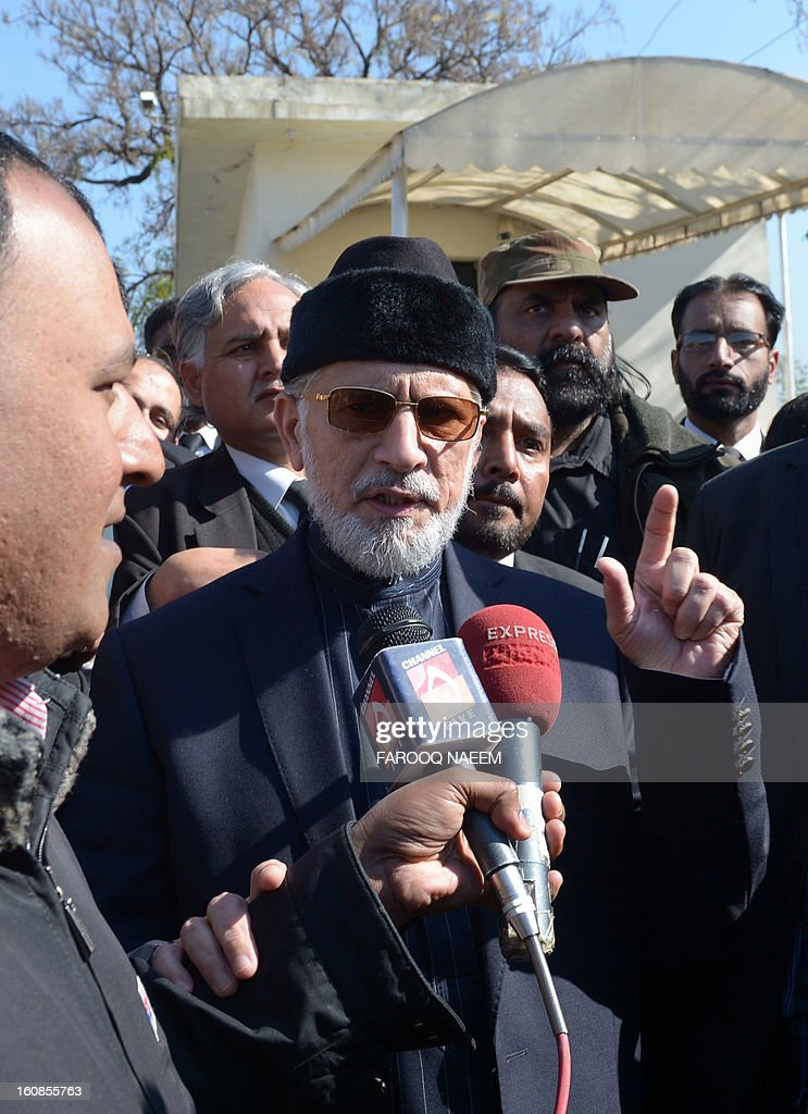 Pakistani Muslim cleric Tahirul Qadri talks with media representatives after submitting a petition in the Supreme Court in Islamabad on February 7, 2013. Tehrik-i-Minhajul Quran (TMQ) chief Tahirul Qadri submitted a petition in the Supreme Court of Pakistan seeking reconstitution of the Election Commission of Pakistan (ECP) in accordance with the Constitution. The government on January 27, had rejected as unconstitutional Tahirul Qadri's demands for reconstituting the Election Commission and freezing discretionary and development funds. AFP PHOTO/Farooq NAEEM