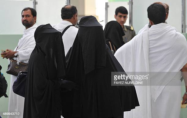 Pakistani Muslim pilgrims arrive at Jeddah airport on October 30 2011 before going to the Saudi holy city of Mecca where they will take part in the...