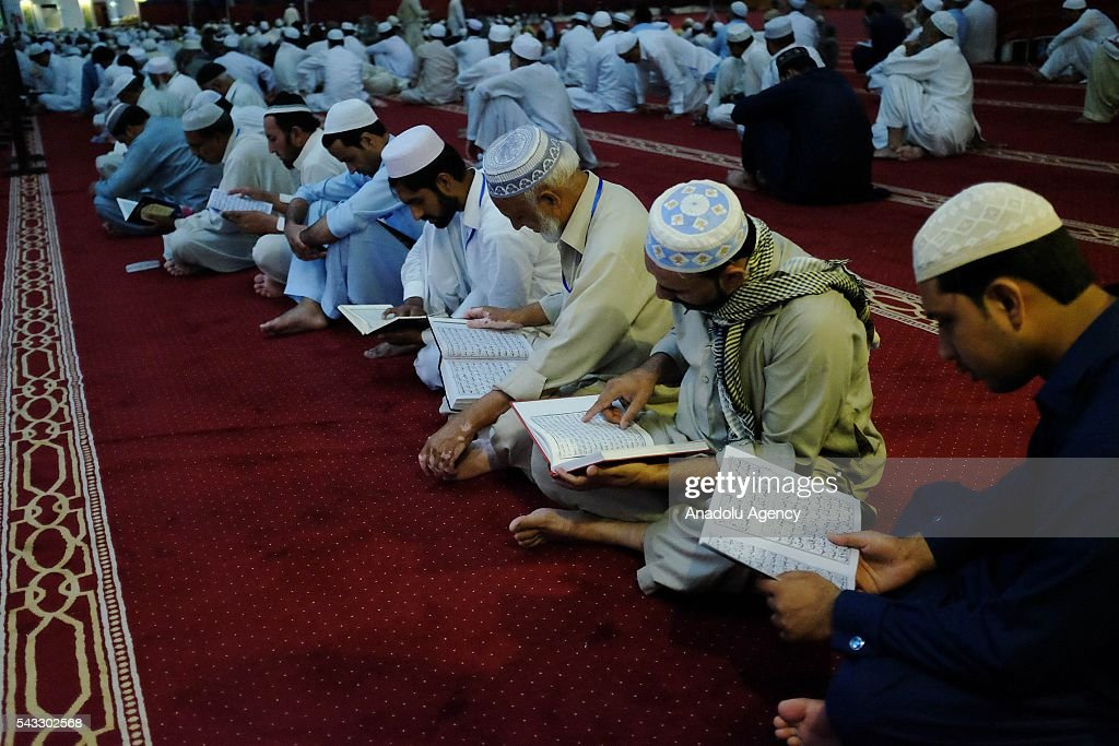 Pakistani Muslims are seen at the Faisal Mosque for Itikaf which is a spiritual practice, held during the last ten days of Islamic fasting month of Ramadan in Islamabad Pakistan on June 27, 2016. Itikaf devotees spend ten days and nights to worship in the mosque until the end of Ramadan, devoting their time to read the holy Quran and pray to mark Shab-e-Qadr (Night of Destiny).