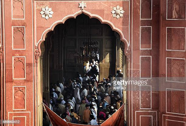 Pakistani Muslims offer Eid alAdha prayers at the Badshahi Mosque in Lahore on September 25 2015 Muslims across the world celebrate the annual...