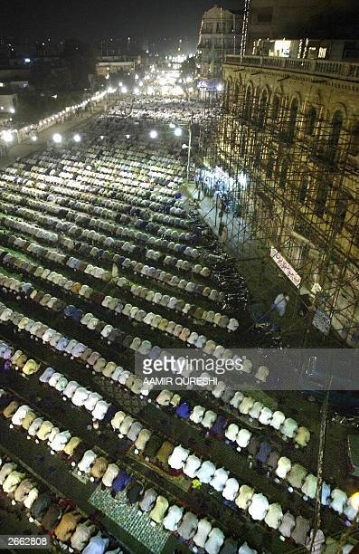 Pakistani Muslims offer 'Taraveeh' in a street of Karachi to welcome the holy month of Ramadan 27 October 2003 For Muslims over the world Ramadan...