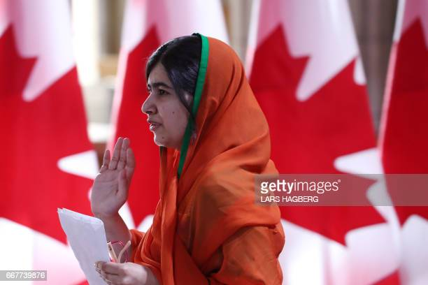 Pakistani Nobel Peace Laureate Malala Yousafzai leaves Parliament hill after receiving an honorary Canadian citizenship in Ottawa Ontario April 12...