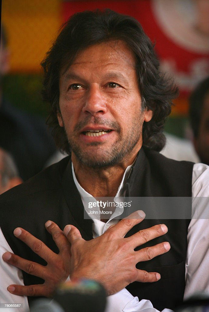 Pakistani opposition politician and cricket legend Imran Khan speaks out against President Pervez Musharraf and emergency rule at a press conference...