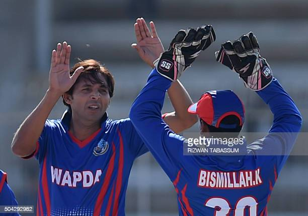 Pakistani paceman Mohammad Asif celebrates after taking a wicket during a domestic oneday match in Hyderabad on January 10 2016 Butt and Mohammad...