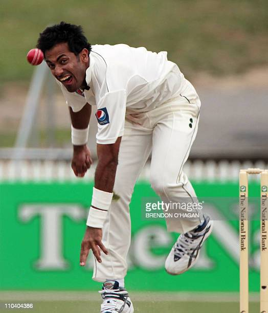 Pakistani player Wahad Riaz bowls against New Zealand Black caps on day one of the first Test match at Sedden park in Hamilton on January 7 2011 New...