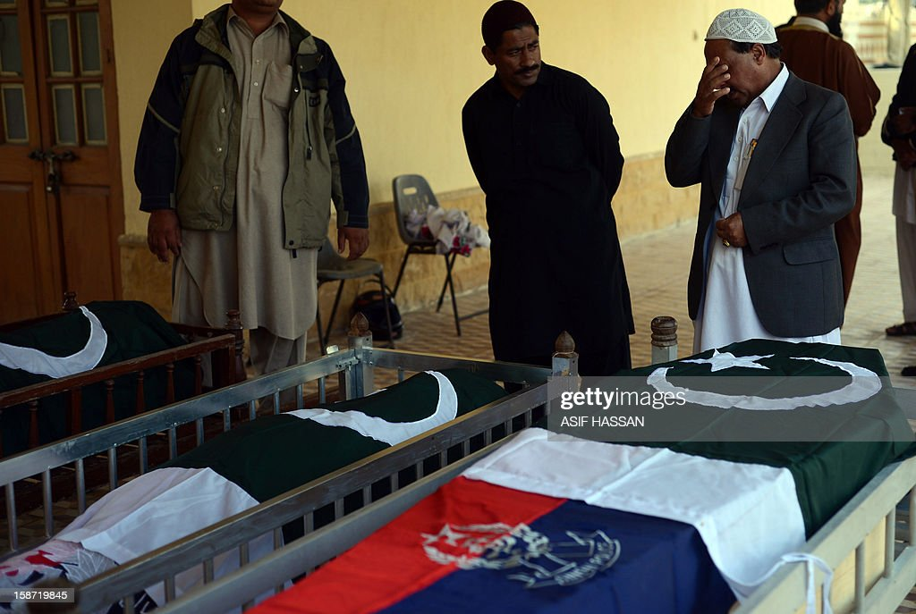 Pakistani police officials stand beside the coffins of their colleagues during a funeral in Karachi on December 26, 2012, after they were killed during an attack by gunmen on a vehicle. Gunmen opened fire on a car carrying a senior figure from an extremist Muslim Sunni group in the Pakistani city of Karachi on December 25, killing four policemen and two other people, police said. AFP PHOTO/ASIF HASSAN