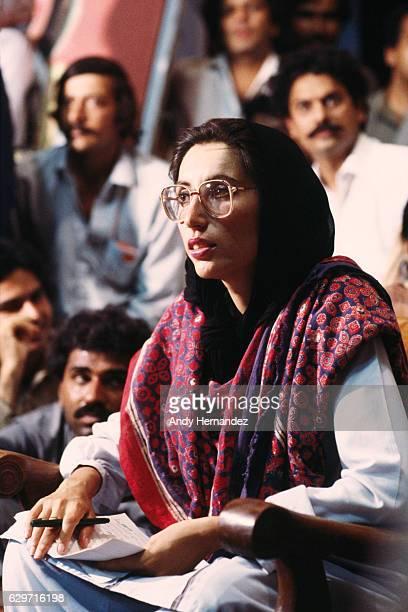 Pakistani politician Benazir Bhutto speaking to supporters in Karachi