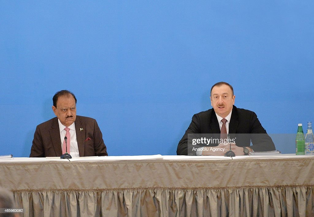 Pakistani President <a gi-track='captionPersonalityLinkClicked' href=/galleries/search?phrase=Mamnoon+Hussain&family=editorial&specificpeople=11183703 ng-click='$event.stopPropagation()'>Mamnoon Hussain</a> (L) and Azerbaijani President <a gi-track='captionPersonalityLinkClicked' href=/galleries/search?phrase=Ilham+Aliyev&family=editorial&specificpeople=565601 ng-click='$event.stopPropagation()'>Ilham Aliyev</a> (R) attend the Azerbaijan - Pakistan Business Forum on March 12, 2015 in Baku, Azerbaijan.