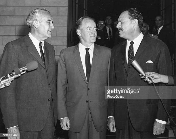 Pakistani President Mohammad Ayub Khan welcomes US Vice President Hubert Humphrey and Ambassador Averill Harriman during Humphrey's nine country...