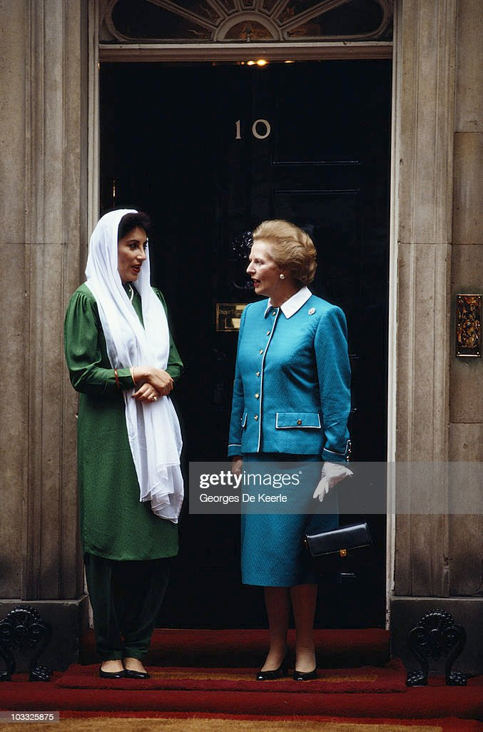 Pakistani Prime Ministe Benazir Bhutto (1953 - 2007) with British Prime Minister Margaret Thatcher outside Number 10 Downing Street, London, circa 1989.