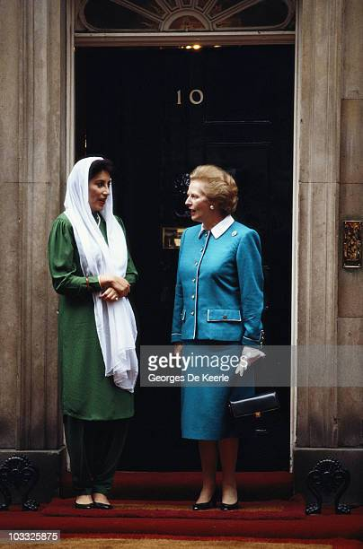 Pakistani Prime Ministe Benazir Bhutto with British Prime Minister Margaret Thatcher outside Number 10 Downing Street London circa 1989