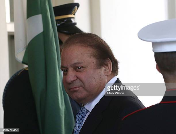 Pakistani Prime Minister Nawaz Sharif arrives at the White House October 22 2015 in Washington DC The Prime Minister participated in a bilateral...
