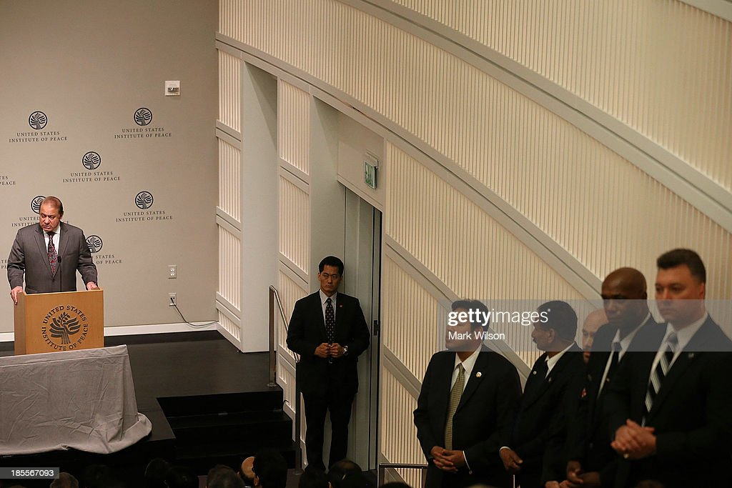 Pakistani Prime Minister <a gi-track='captionPersonalityLinkClicked' href=/galleries/search?phrase=Nawaz+Sharif&family=editorial&specificpeople=217726 ng-click='$event.stopPropagation()'>Nawaz Sharif</a> speaks at the United States Institute of Peace, October 22, 2013 in Washington, DC. Later this week Prime Minister Sharif is scheduled to meet with U.S. President Barack Obama at the White House.