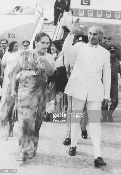 Pakistani Prime Minister Zulfikar Ali Bhutto arrives at Bandaranaike International Airport at the start of an official visit to Sri Lanka 20th...