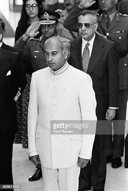 Pakistani Prime Minister Zulfikar Ali Bhutto in France for the funeral of French President Georges Pompidou