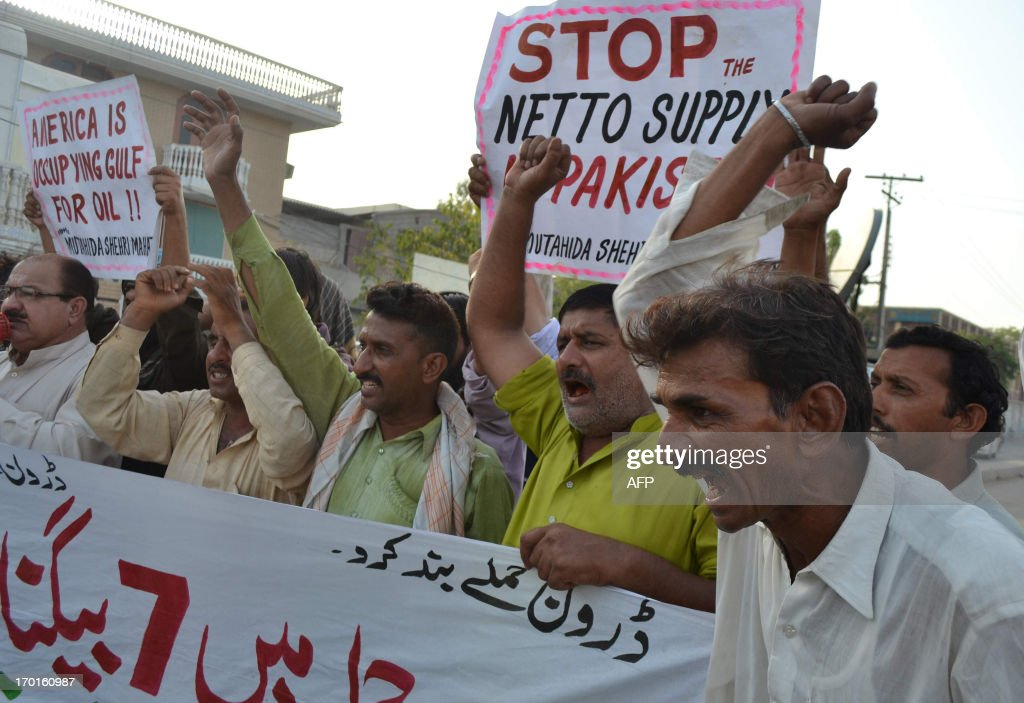 Pakistani protesters from the United Citizen Action shout anti-US slogans during a protest in Multan on June 8, 2013 against US drone attacks in Pakistani tribal areas. Islamabad summoned an American diplomat on June 8 to protest over the latest US drone strike which killed seven people in northwest Pakistan, the foreign ministry said. The missile attack in the restive North Waziristan tribal district on June 7 was the first since Nawaz Sharif was sworn in as prime minister this week calling for an end to such strikes.