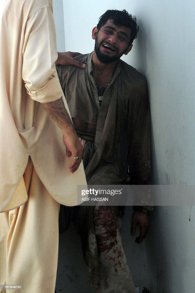 A Pakistani relative mourns the killing of a election candidate, Saddiq Zaman Khattack, at a hospital mortuary in Karachi on May 3, 2013 following a gunmen attack. A candidate running for parliament in next week's historic Pakistani election was shot dead on Friday along with his three-year-old son after praying in a mosque in Karachi, police said. It is the first time that a national assembly candidate has been killed in Pakistan's election campaign. Campaigning has been marred by Taliban threats and attacks, which have killed 62 people since April 11, according to an AFP tally.
