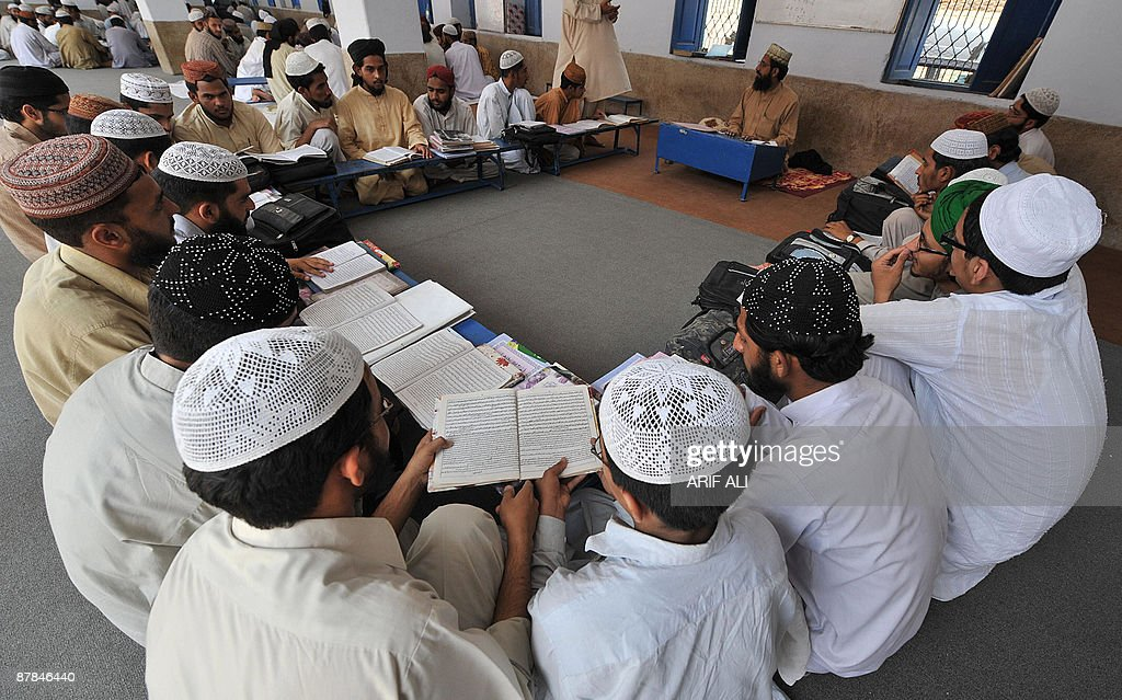 Pakistani religious students attend a class in Jamia Naeemia seminary in Lahore on May 19 2009 The majority of Pakistanis consider the practice of...