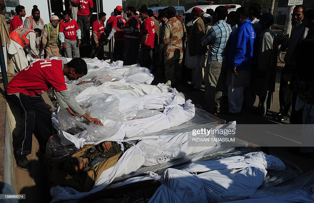 Pakistani rescuers arrange dead bodies of illegal immigrants for identification who were killed near the border with Iran, in Karachi on December 23, 2012. Unknown gunmen killed 11 people as they prepared to illegally leave Pakistan in the southwestern province of Baluchistan, officials said. AFP PHOTO/Rizwan TABASSUM