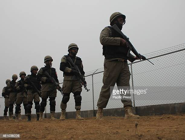 Pakistani Security Force patrol along the PakistanIndia border area of Wagah The Indian Border Security Force allegedly again resorted to unprovoked...