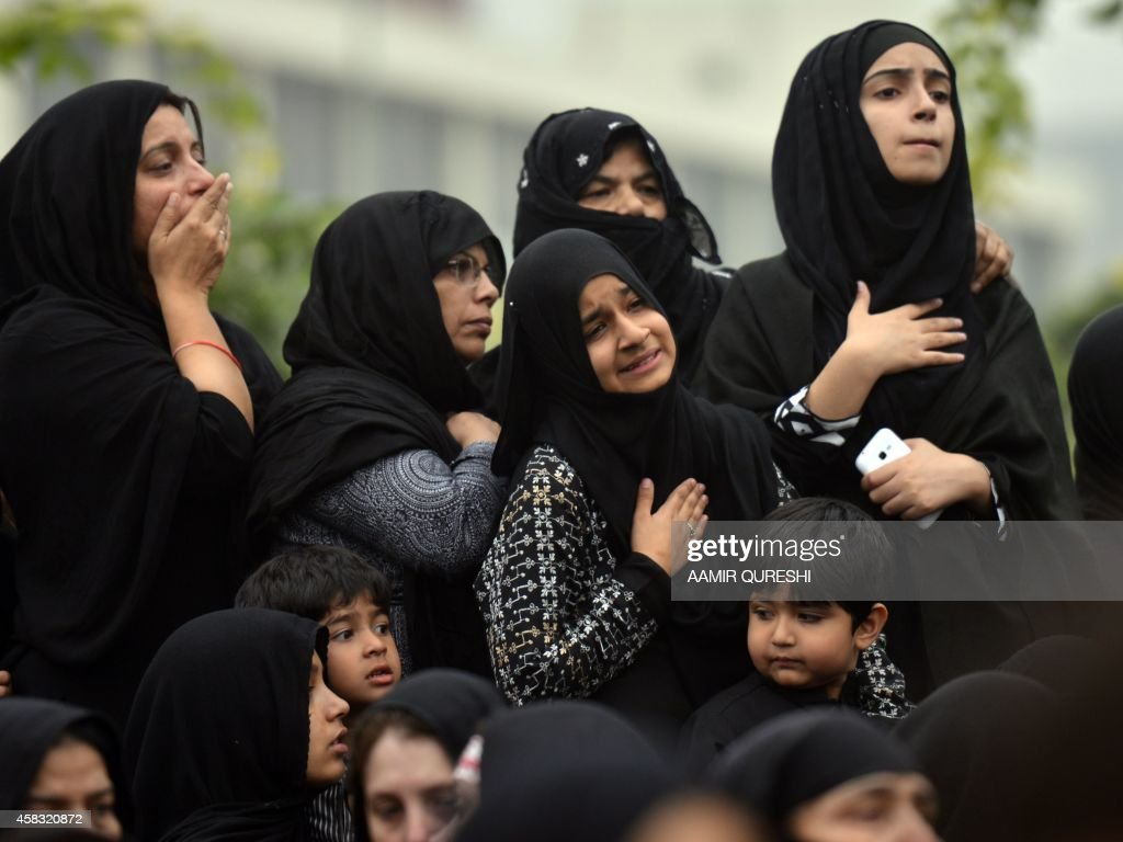 Pakistani Shiite Muslim mourners attend a religious procession on the ninth day of the holy Islamic month of Moharram in Islamabad on November 3 2014...