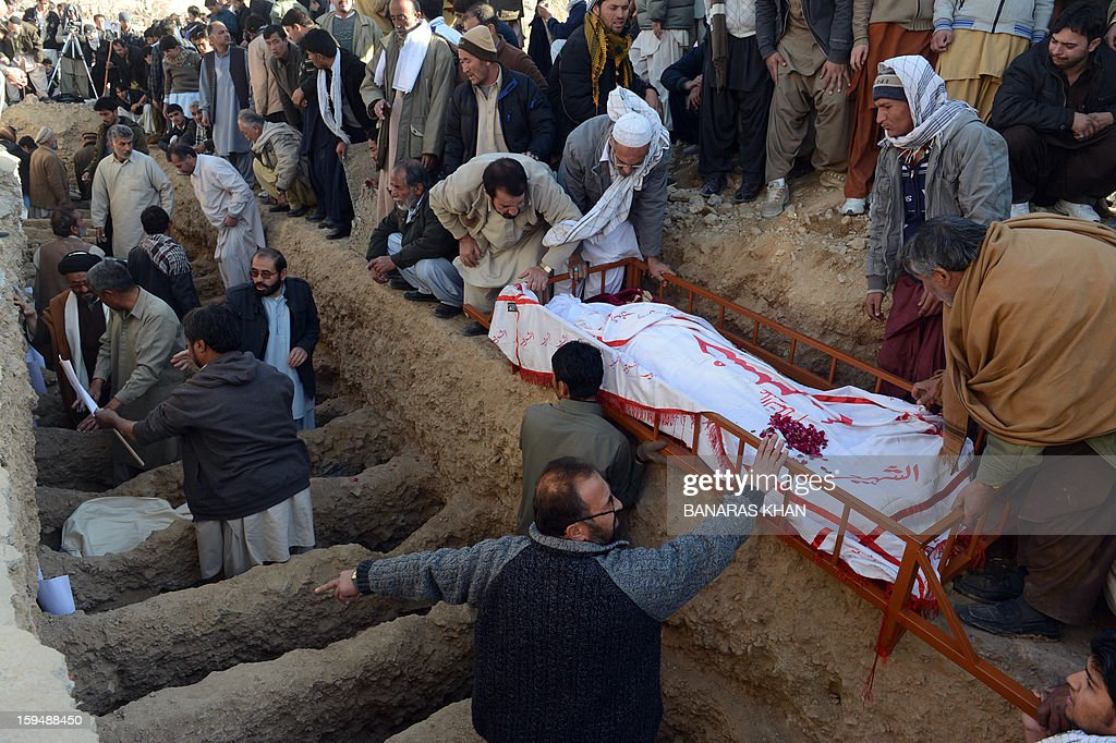 Pakistani Shiite Muslim mourners bury blast victims after ending their protest in Quetta on January 14, 2013. Embattled Shiite Muslims Monday buried victims of the deadliest single attack on their community in Pakistan, ending a four-day protest to demand protection after the provincial government was sacked. Men, women and children spent four nights camped in freezing conditions, refusing to bury the victims of a twin suicide bombing that killed 92 people in a Shiite area of the southwestern city of Quetta last Thursday.