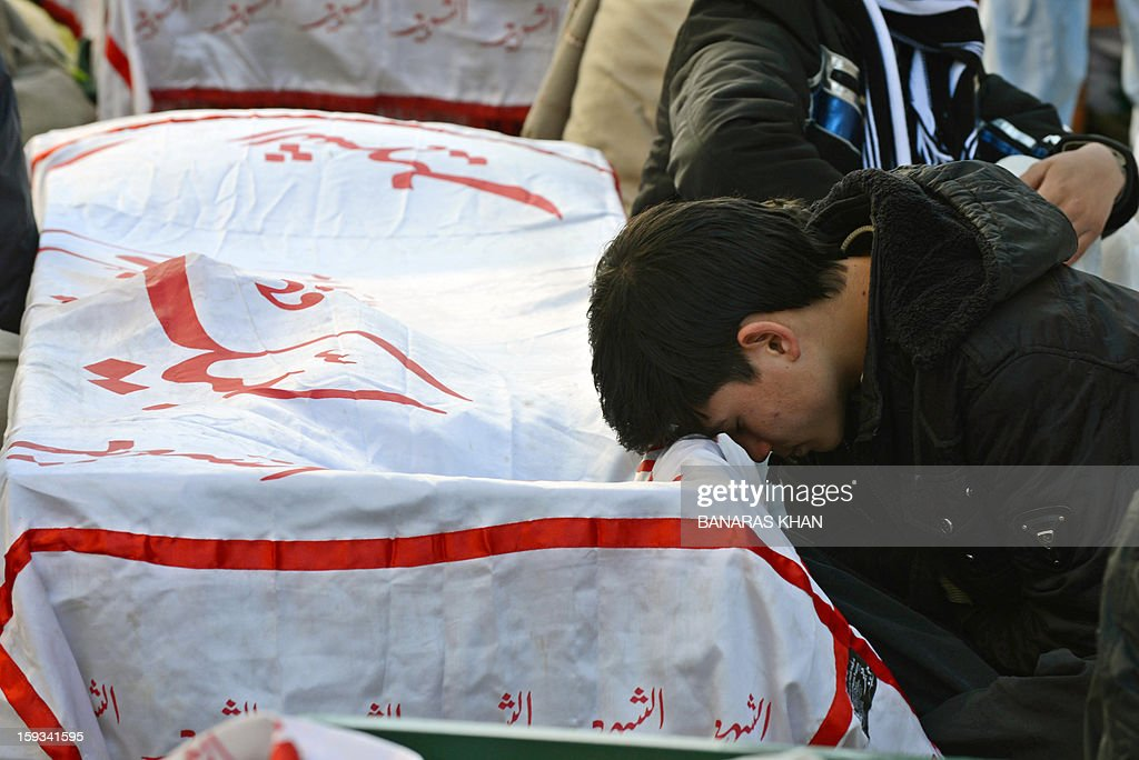 A Pakistani Shiite Muslim reacts over the coffin of a bombing victim during a protest in Quetta on January 12, 2013. Shiite families refusing to bury their dead after twin bombings in Pakistan's troubled southwestern city of Quetta vowed to continue their sit-in protest January 12 until the army takes over security. AFP PHOTO/Banaras KHAN