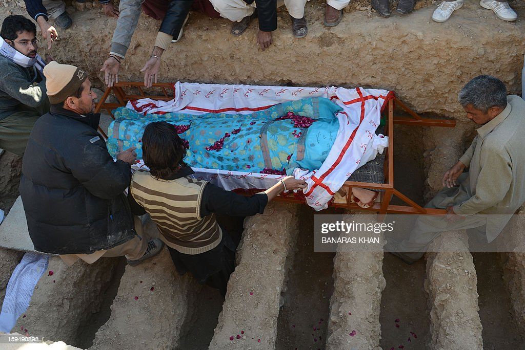 Pakistani Shiite Muslims bury the coffin of a victim of the twin bombings during the funeral ceremony in Quetta on January 14, 2013. Embattled Shiite Muslims Monday buried victims of the deadliest single attack on their community in Pakistan, ending a four-day protest to demand protection after the provincial government was sacked. AFP PHOTO/Banaras KHAN