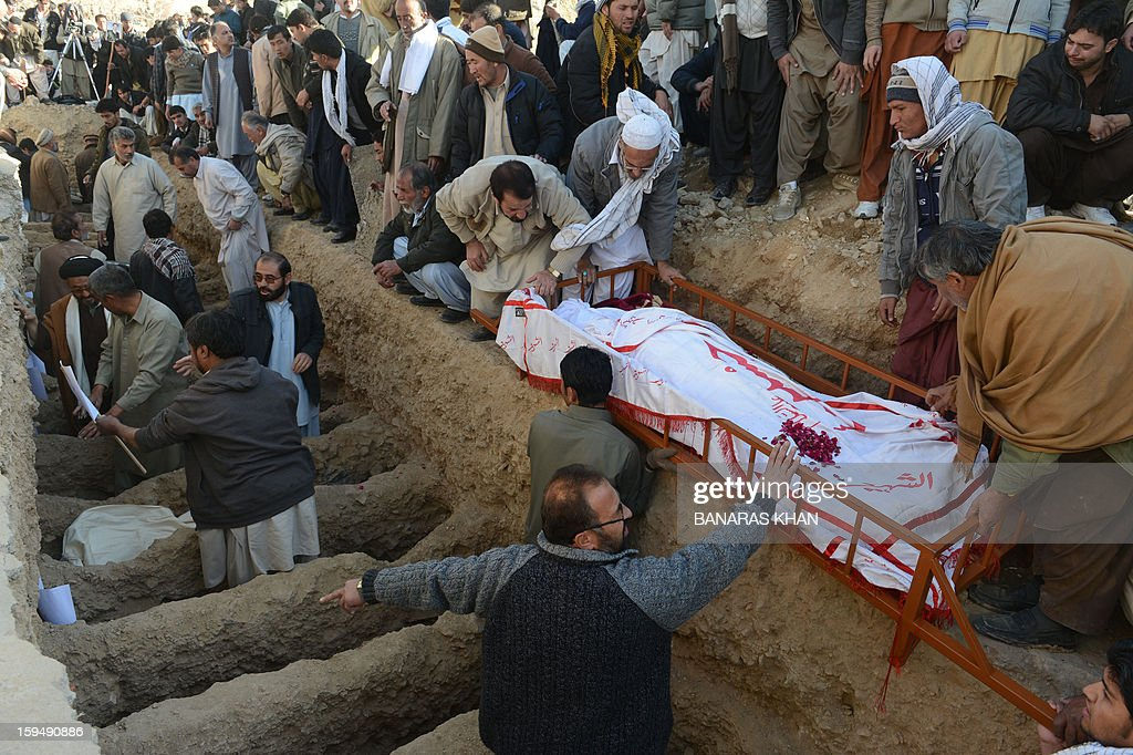 Pakistani Shiite Muslims bury the coffins of victims of the twin bombings during the funeral ceremony in Quetta on January 14, 2013. Embattled Shiite Muslims Monday buried victims of the deadliest single attack on their community in Pakistan, ending a four-day protest to demand protection after the provincial government was sacked. AFP PHOTO/Banaras KHAN