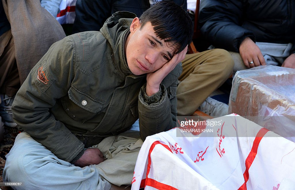 Pakistani Shiite Muslims demonstrate and sit amongst the coffins of bomb blast victims in Quetta on January 13, 2013, on the third day of protest. Pakistan's Prime Minister Raja Pervez Ashraf arrived, in the southwestern city of Quetta to meet Shiite Muslim families refusing to bury their dead after devastating bombings. AFP PHOTO/ Banaras KHAN