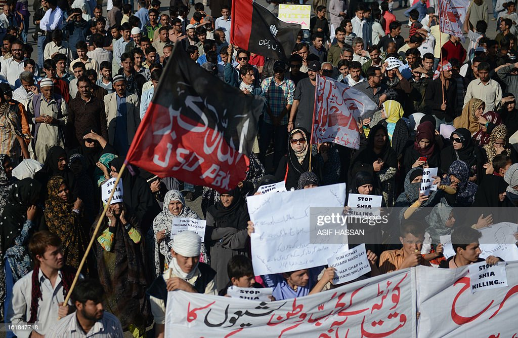 Pakistani Shiite Muslims protesters march as they react against yesterday's bomb attack in Quetta, in Karachi on February 17, 2013. The death toll from a devastating bomb attack on Shiite Muslims in southwest Pakistan rose to 81 Sunday, as the community threatened protests if swift action was not taken against the killers. AFP PHOTO/Asif HASSAN
