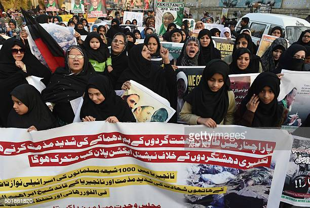 Pakistani Shiite Muslims take part in a protest against the killing of Shiite Muslims in Pakistan and Nigeria in Lahore on December 18 2015 Hundreds...