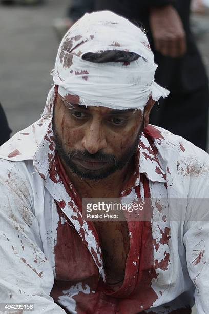 Pakistani Shiite Muslims take part in ritual selfflagellation with chains and blades and jostle to touch a horse that represents the horse that...